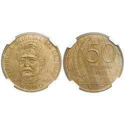 "Uruguay (struck in Santiago), brass 50 pesos, 1971, Rodo centennial, ""F. Orellana P.,"" encapsulated"