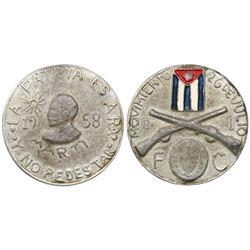 Cuba, pewter medal, 1958, Marti / FC, rare.