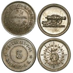 Lot of 2 Mayaguez, Puerto Rico, copper-nickel 5c commerce tokens: Fernandez y Ca and Adjuntas Ferret