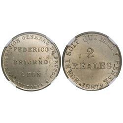 Victoria (Aragua), Venezuela, copper-nickel 2 reales token, 1887, Federico Briceno Leon, encapsulate