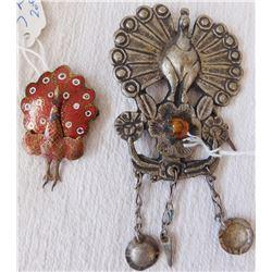 2 Peacock Pins