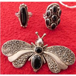 2 Navajo Rings & Dragonfly Pin