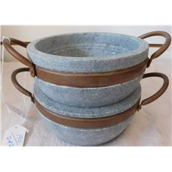 2 Steatite Cooking Bowls