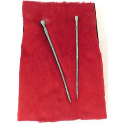 2 Pre-Columbian Copper Hairpins