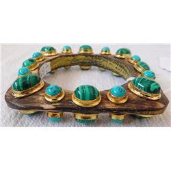Malachite & Turquoise Wood Cuff