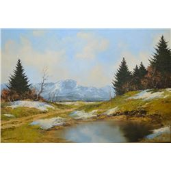 Framed oil on canvas painting of a mountain lake scene signed by artist Kurt Moser, Munchen 24  X 36