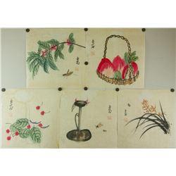 5 Pc Watercolour on Paper Qi Baishi 1864-1957