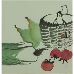 Chinese Watercolour on Paper with Frame Signed