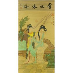 Watercolour on Silk Scroll Chouying 1494-1552