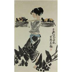 Watercolour on Paper Scroll Zhou Sicong 1939-1996