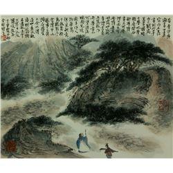 Watercolour on Paper Scroll Fu Baoshi 1904-1965