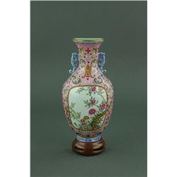 Qing Famille Rose Porcelain Wall Vase Qianlong MK