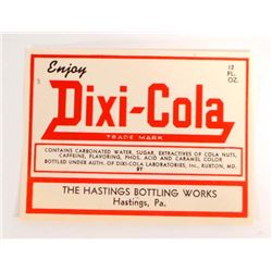 VINTAGE DIXI-COLA SODA ADVERTISING BOTTLE LABEL
