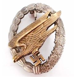 GERMAN NAZI LUFTWAFFE PARATROOPER FALLSCHIRMJAGER JUMP BADGE