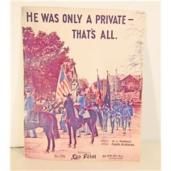 1904  HE WAS ONLY A PRIVATE - THATS ALL  MILITARY SHEET MUSIC