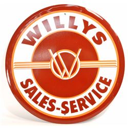 WILLYS SALES & SERVICE ADVERTISING ROUND TIN SIGN