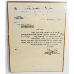 1924 UNITED STATES & LITHUANIAN LINES LETTER