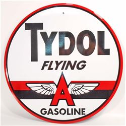 TYDOL FLYING A GASOLINE ADVERTISING ROUND TIN SIGN