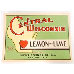 VINTAGE CENTRAL WISCONSIN LEMON LIME SODA ADVERTISING BOTTLE LABEL