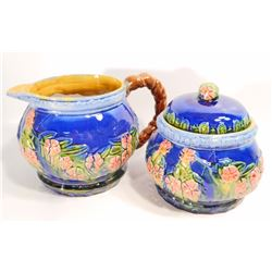 MAJOLICA STYLE CREAMER AND SUGAR SET
