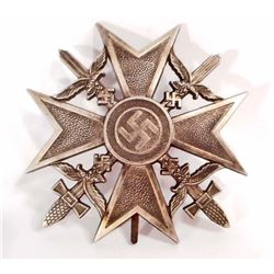 GERMAN NAZI LUFTWAFFE SILVER SPANISH CROSS W/ SWORDS