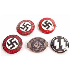 LOT OF 5 GERMAN NAZI ENAMELED PARTY PINS