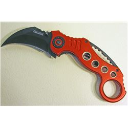 RED AND BLACK TAC FORCE SPRING ASSISTED FOLDING KNIFE