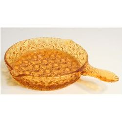 VINTAGE AMBER PATTERN GLASS DISH