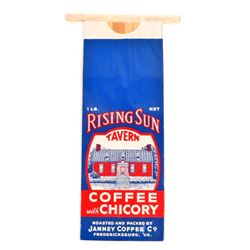 VINTAGE RISING SUN TAVERN COFFEE ADVERTISING BAG