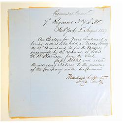 1859 ANTIQUE SEVENTH REGIMENT ELECTION HAND WRITTEN LETTER