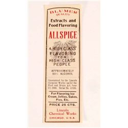 VINTAGE BLUMER ALL SPICE ADVERTISING LABEL