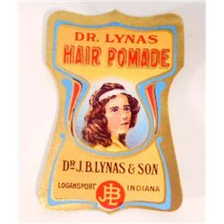 VINTAGE DR. LYNAS HAIR POMADE ADVERTISING LABEL