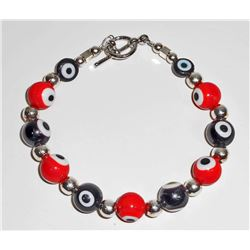 BEAUTIFUL HANDMADE STERLING SILVER AND ART GLASS BEADS BRACELET