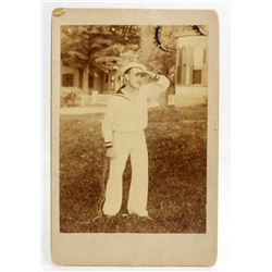 ANTIQUE CABINET CARD PHOTO OF A SAILOR - SELF PORTRAIT