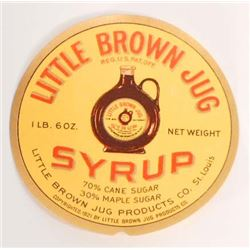 VINTAGE LITTLE BROWN JUG SYRUP ADVERTISING LABEL