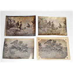 LOT OF 4 ANTIQUE PHOTOS OF MEN W/ PICK AXES & SHOVELS