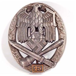 GERMAN NAZI ARMY 25 GENERAL ASSAULT BADGE