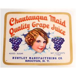 VINTAGE CHAUTAUQUA MAID QUALITY GRAPE JUICE ADVERTISING LABEL