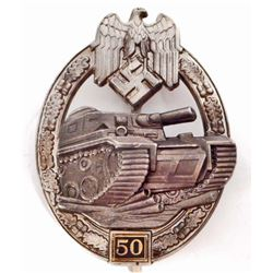 GERMAN NAZI ARMY SILVER 50 TANK ASSAULT BADGE