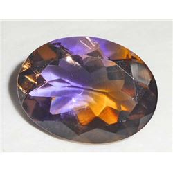 11.0 CT OVAL CUT PURPLE AND YELLOW AMETRINE