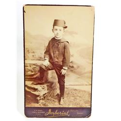 VINTAGE CABINET CARD PHOTO OF A FANCY DRESSED CHILD PORTLAND, OR.