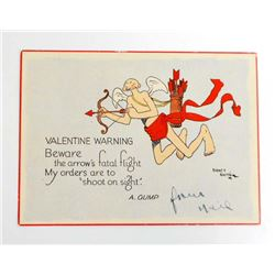 "VINTAGE VALENTINE CARD ""SHOOT ON SIGHT"""