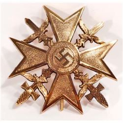 GERMAN NAZI LUFTWAFFE GOLD SPANISH CROSS W/ SWORDS