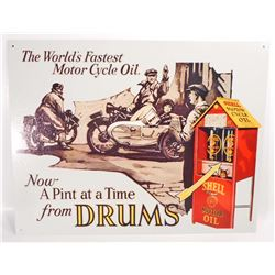 SHELL OIL MOTORCYCLE ADVERTISING METAL SIGN