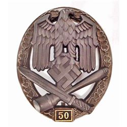 GERMAN NAZI ARMY 50 GENERAL ASSAULT BADGE