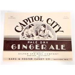 VINTAGE CAPITOL CITY PALE DRY GINGER ALE ADVERTISING BOTTLE LABEL