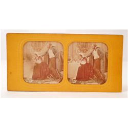 ANTIQUE HAND COLORED TISSUE STEREOVIEW PHOTO CARD OF MAN & WOMAN