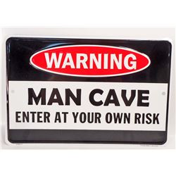 MAN CAVE EMBOSSED FUNNY TIN SIGN