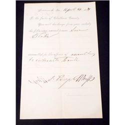 1894 CHATHAM COUNTY SAVANNAH, GEORGIA PRISONER DISCHARGE CERTIFICATE
