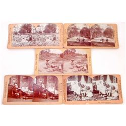 LOT OF 5 ANTIQUE STEREOVIEW PHOTO CARDS OF CHILDREN